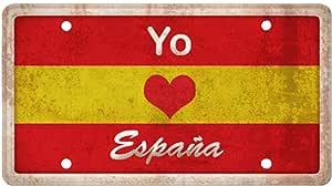 Matricula Decorativa 30,00 cm x 15,00 cm Yo Amo España ...