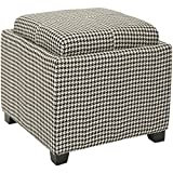 Black and White Ottoman Safavieh Hudson Collection Harrison Black & White Single Tray Ottoman