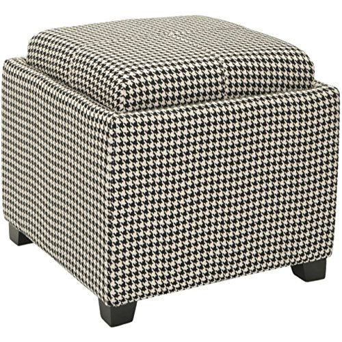 Safavieh Hudson Collection Harrison Black & White Single Tray (Upholstery Living Room Ottoman)