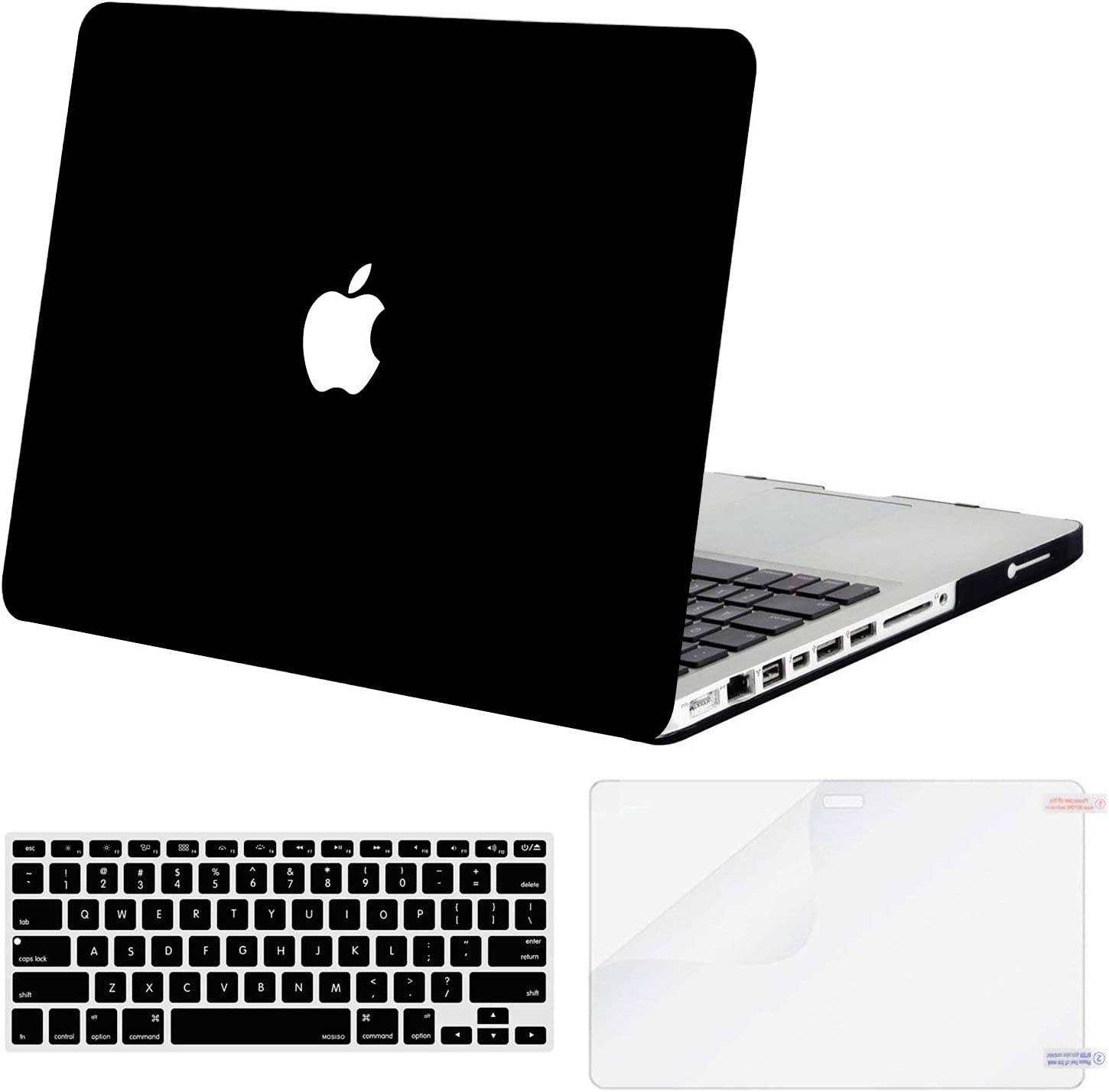 MOSISO Plastic Hard Shell Case & Keyboard Cover & Screen Protector Only Compatible with Old Version MacBook Pro 13 Inch (A1278, with CD-ROM), Release Early 2012/2011/2010/2009/2008, Black