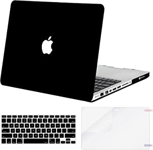 MOSISO Plastic Hard Shell Case & Keyboard Cover Skin & Screen Protector Only Compatible with Old Version MacBook Pro 15 inch (Model: A1286, with CD-ROM), Release 2012/2011/2010, Black