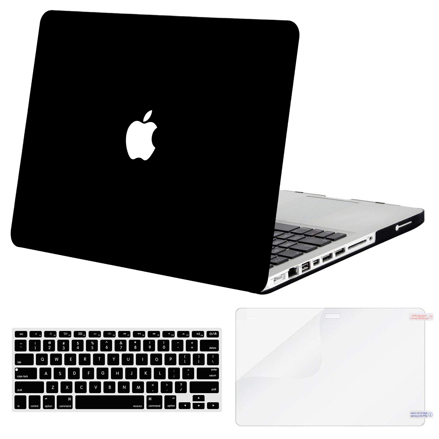 MOSISO Plastic Hard Shell Case & Keyboard Cover Skin & Screen Protector Only Compatible with Old Version MacBook Pro 15 inch (Model: A1286, with ...