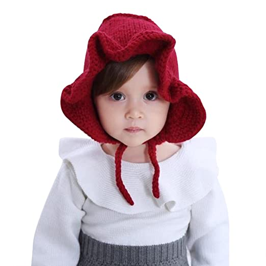 36387d154bd Amazon.com  CC-US Baby Girls Soft Winter Hat Knitted Flower Bonnet Sun Hat  with Chin Strap  Clothing