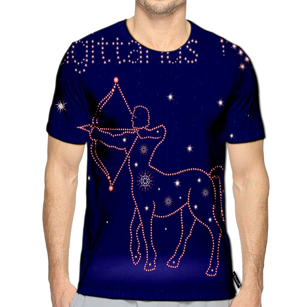 3D Printed T-Shirts Zodiac Sign Sagittarius On The Starry Sky with Stylized Star
