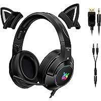 POTIKA Fones de ouvido para jogos 4D estéreo surround com orelhas de gato removíveis, fones de ouvido pretos para jogos…