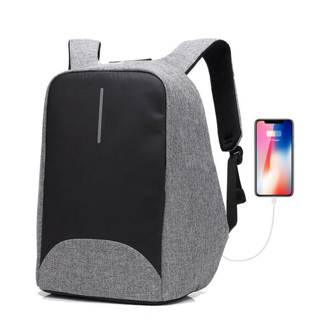 WWQY Laptop Backpack for 15'' 15.6'' Anti Theft Rucksack for Business Travel School Checkpoint Friendly With USB Charging Port, gray