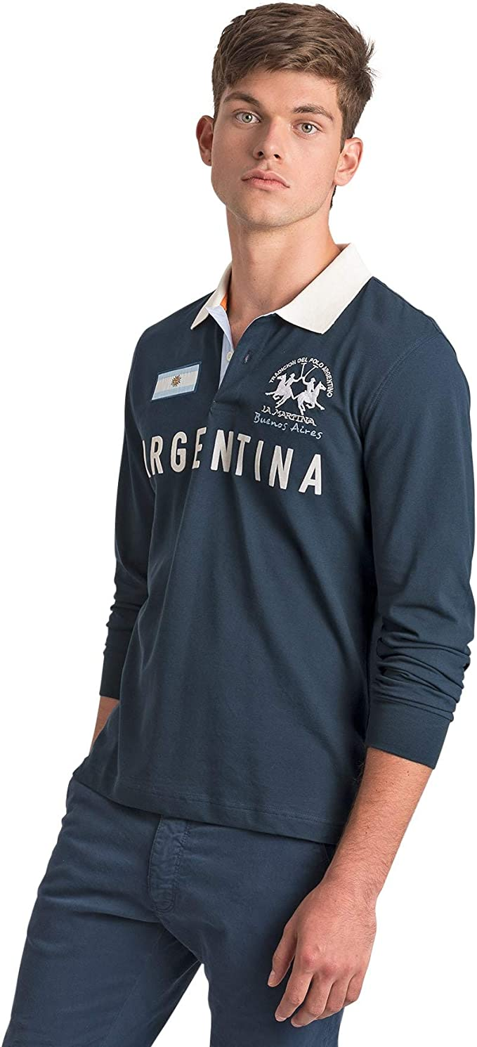 La Martina Man Polo Long Sleeve Piquet Stretch Uomo