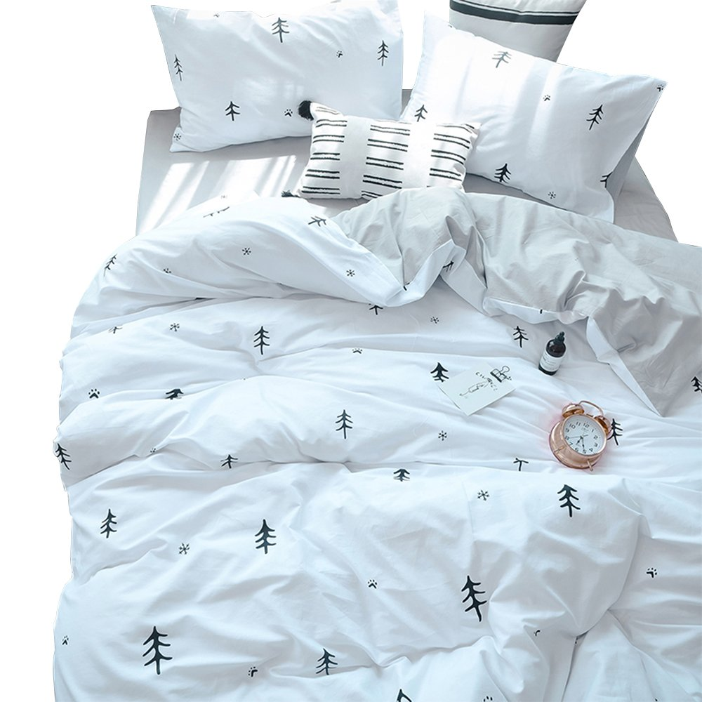 BuLuTu Kids Duvet Cover Full Cotton White/Grey,Premium Boys Girls Bedding Sets Queen,Reversible Double Bed Comforter Cover Zipper Closure,Forest Tree Print Pattern,Super Soft,Breathable,NO Comforter
