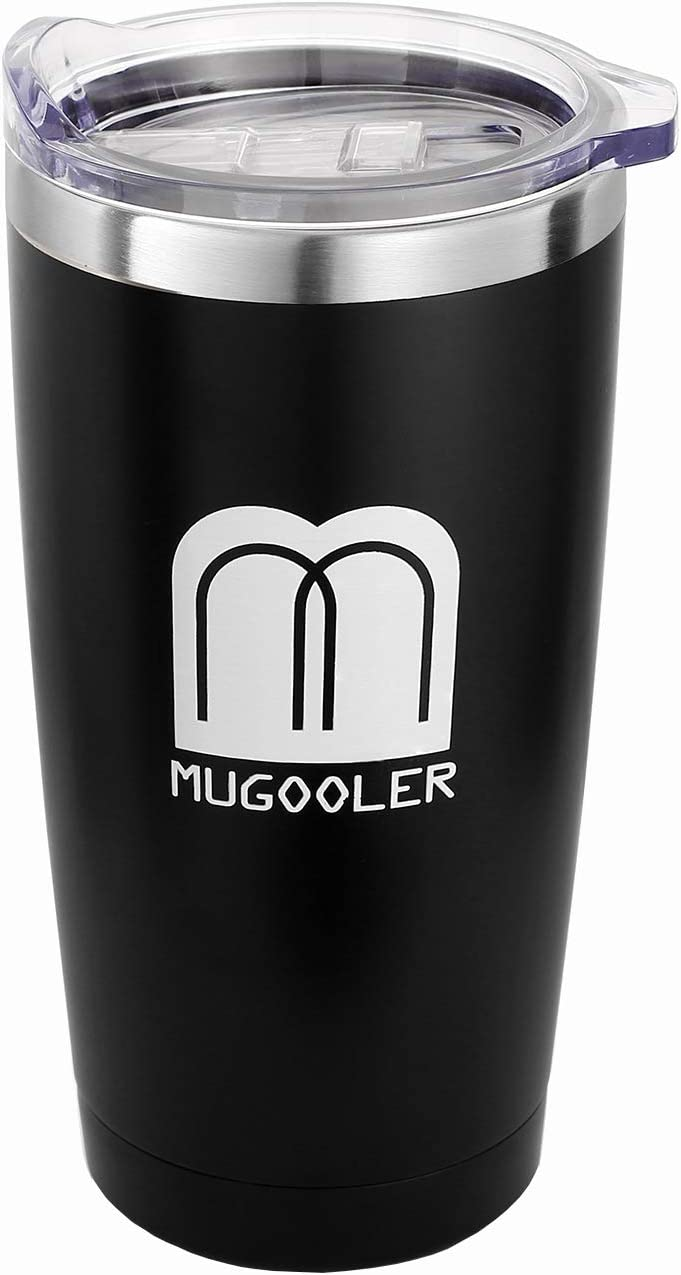 MUGOOLER Stainless Steel Vacuum Insulated Tumbler with Lid Travel Mug Double Wall Durable Coffee Mug (Black, 20oz)