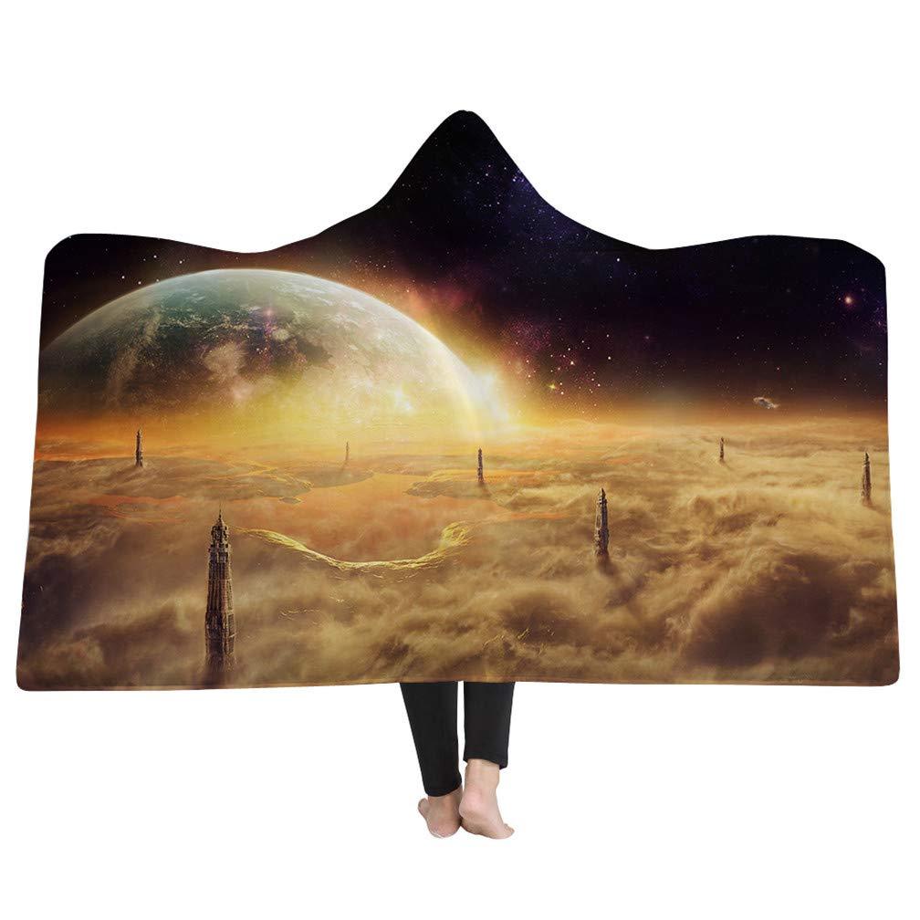 Sticker Superb Colored Starry Sky Hooded Blanket Warm Adult Blanket with Hood Galaxy Stars Sherpa Fleece Blanket Snuggy Blanket for Women Pattern 1, 50x60