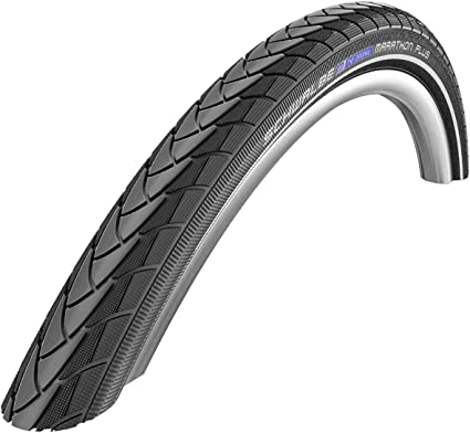 "SCHWALBE MARATHON PLUS  26/"" X 1.5/"" BLACK WIRE BEAD BICYCLE TIRE W// REFLECTIVE"