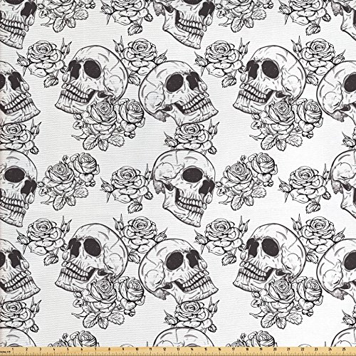 Monsters Fabric - Ambesonne Skull Fabric by The Yard, Blooms Retro Style Otherworld Textured Western Style Celtic Halloween Horror, Decorative Fabric for Upholstery and Home Accents, Charcoal Grey White