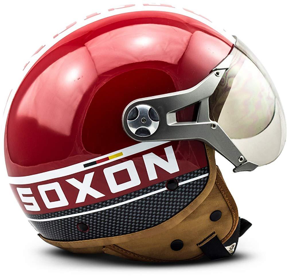 Cloth Bag /· Blue /· L 59-60cm Sun Visor /· incl SOXON SP-325-PLUS Blue /· Vintage Mofa Bobber Scooter-Helmet Retro Pilot Jet-Helmet Cruiser Moto-Helmet Biker Vespa-Helmet Chopper /· ECE certified /· incl