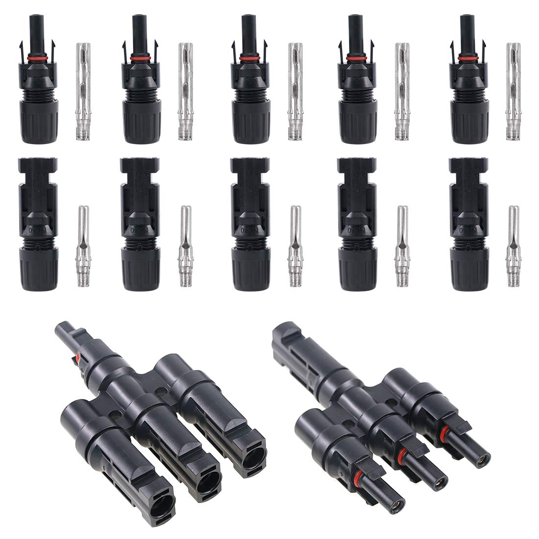 Glarks MC4 Solar Panel Connectors 1 Male to 3 Female and 1 Female to 3 Male T Branch Connectors Cable Coupler Combiner and 5 Pair MC4 Male/Female Solar Panel Cable Connectors Set (M/3F and F/3M)