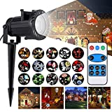 FUNHOUR Christmas Projector Light, LED Laser Projector Light with RF Remote Controller Waterproof Christmas Lights for Valentine's Day Birthday Wedding Theme Party Garden Home Decor (16 Pattern)