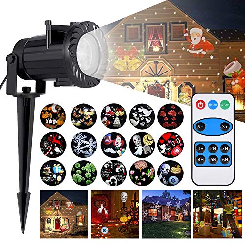 FUNHOUR Christmas Projector Lights LED Motion Laser Light 16 Slides with Remote Controller Projection Lighting Waterproof IP65 For Halloween Birthday Wedding Theme Party Indoor Outdoor Garden Decor