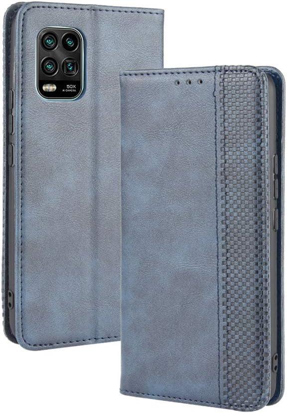 Dedux Flip Funda con Xiaomi Mi 10 Lite 5G, Tapa de Billetera de Cuero Retro Cierre Magnético Folio Soporte Ranuras para Tarjetas, Azul