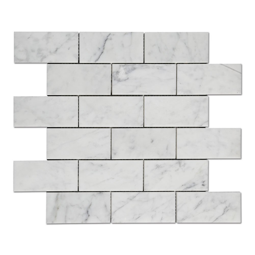 Diflart Italian White Carrara Marble Mosaic Tile 2×4 inch Polished, 5 Sheets/Box (Brick)