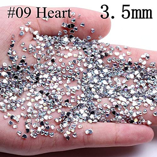 Calvas Various Shape About 10000pcs Crystal AB Acrylic Flatback Rhinestones Nail Art Beads Crafts Gems Jewelry &Accessories Decorations - (Color: 09 Heart 3.5mm) ()