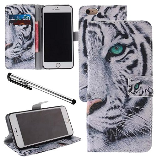 Urvoix For 4.7'' iPhone 6/6S, White Tiger PU Leather Flip Wallet Case Cover - w/Picture on Card Holder, Magnetic Closure, Stand Feature for iPhone 6/6S (NOT fits 6Plus) - Tiger Leather Clutch