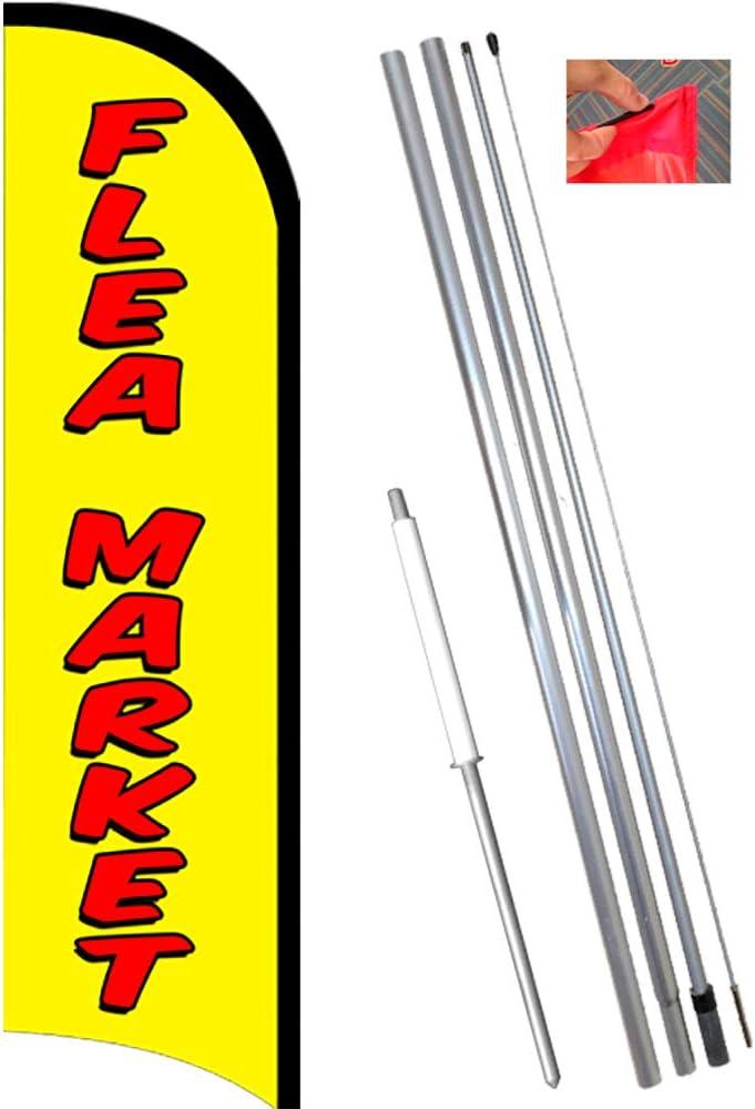 11.5 Tall Flag, 15 Tall Flagpole, Ground Mount Stake FLEA MARKET Windless Feather Flag Bundle