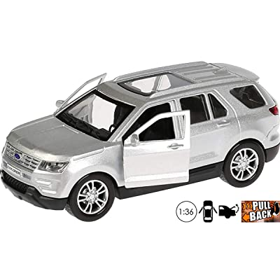 1:36 Scale Diecast Metal Model Car Ford Explorer Silver Mid-Size SUV Russian Die-cast Toy Cars: Toys & Games