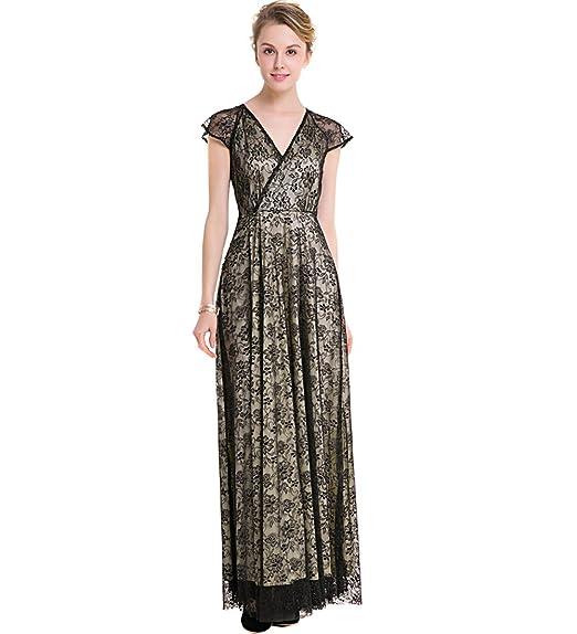 KAXIDY Glamorous V-Neck Evening Dress Black Lace Long Dresses (Small)