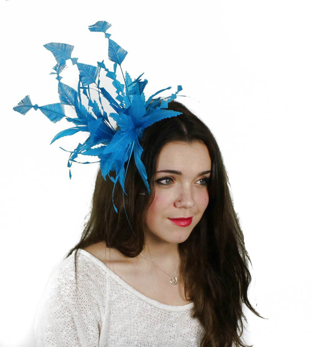 Hats By Cressida Turquoise Feather Kentucky Derby Fascinator Hat With Headband
