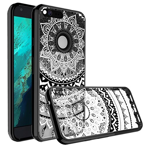 Google Pixel Case, SmartLegend Retro Totem Series Mandala Henna Floral Pattern Clear Acrylic PC Hard Back Cover with TPU Bumper Frame Hybrid Transparent Protective Case for Google Pixel