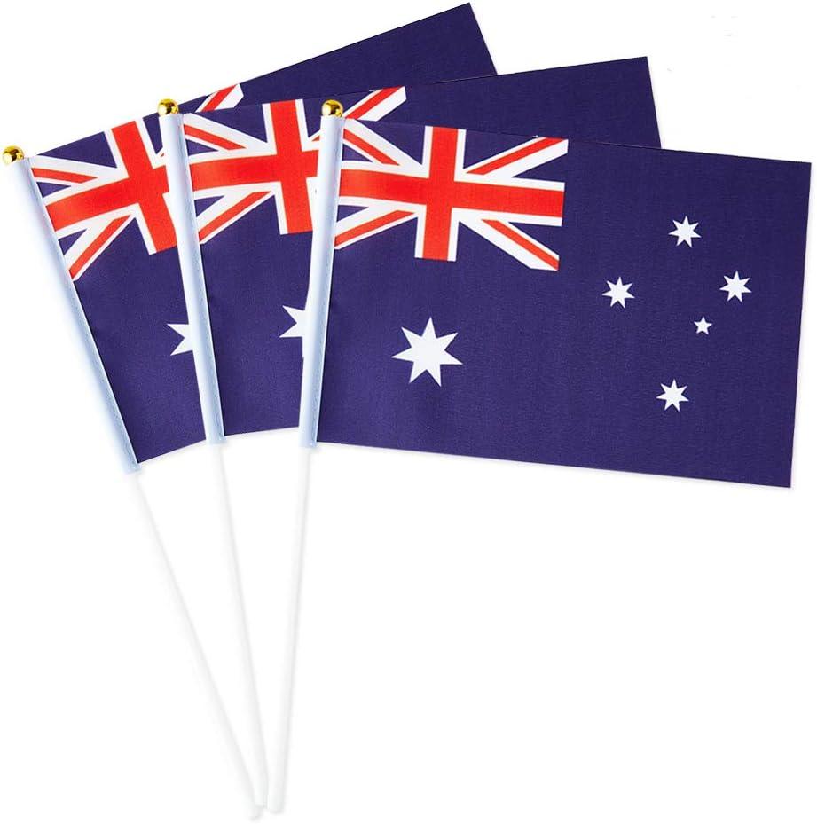 Australia Flag Australian Small Stick Mini Hand Held Flags Decorations 1 Dozen (12 pack)