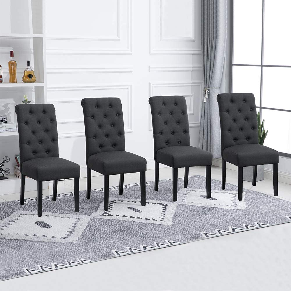 Ansley&HosHo Charcoal Grey Dining Chairs Set of 8 Kitchen Chairs Linen  Fabric Covered Padding Dining Chair with Button Decoration Lumbar Support