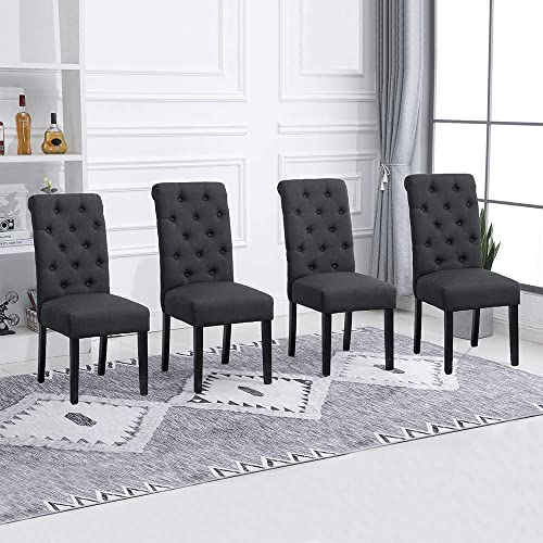 Huisenus Set of 4 Dining Chair Upholstered Fabric Padding Dining Chair Button