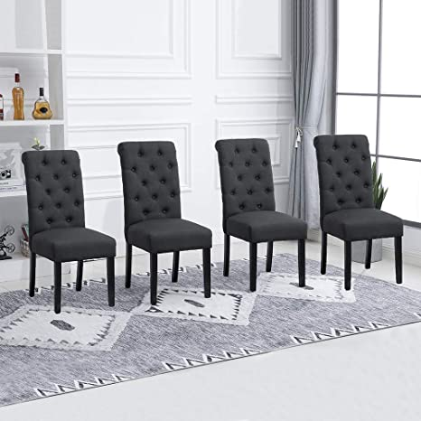 Amazon Com Huisenus Set Of 4 Dining Chair Upholstered Fabric Padding Dining Chair Button For Dining Room Restaurant Wedding Reception Charcoal Set Of 4 Chairs