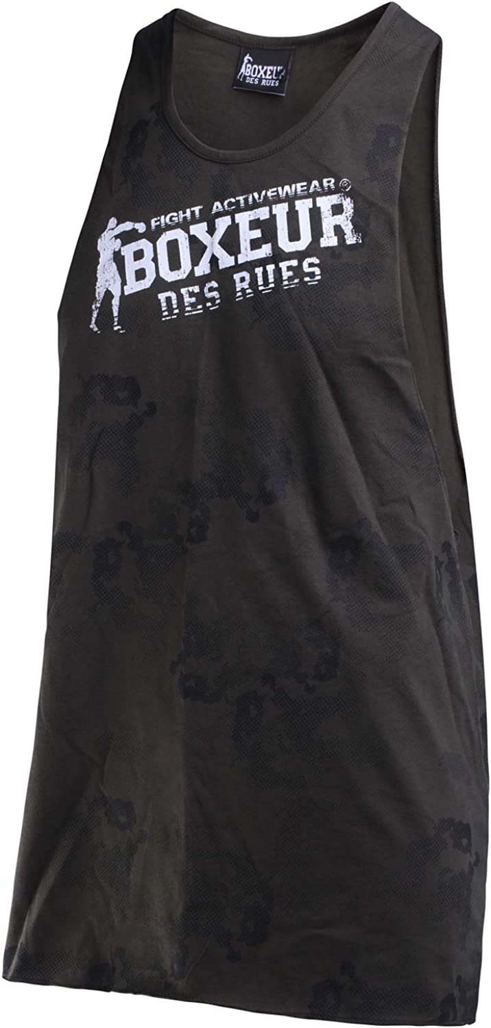Man Wide Jersey Raw Cut Tank with Camou Print Boxeur des rues