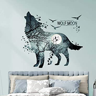 iwallsticker Self-Adhesive 3D Wolf Moon Wall Sticker ...