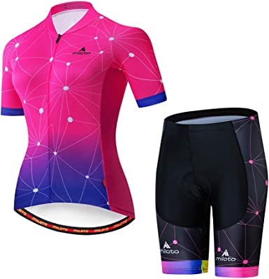 Women/'s Cycling Short Kit Bike Cycle Jersey Top and Padded Shorts Set Reflective