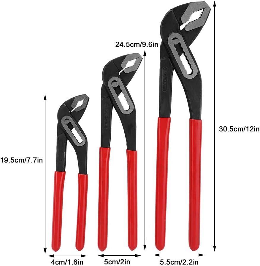 Lot de 3 pinces multifonctions r/églables en acier carbone pour pompe /à eau 7 10 30,5 cm