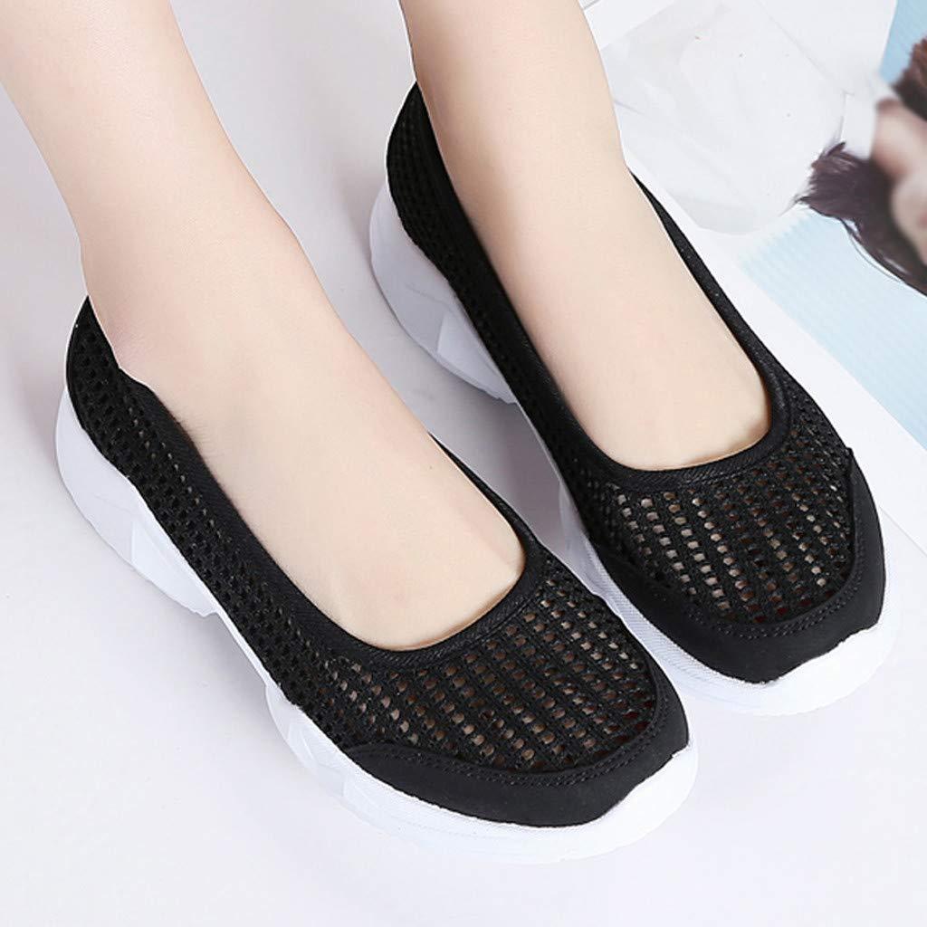 Moonker Ladies Slip On Sneakers Wide Width Walking Shoes Women Outdoor Mesh Lightweight Breathable Casual Shoes