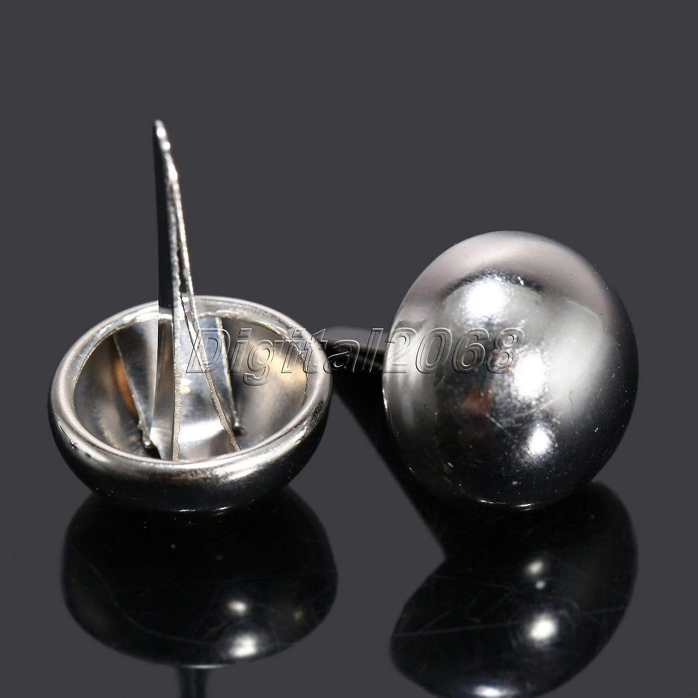 Lysee Tacks - 100Pcs Silver Upholstery Nail Furniture Decorative Pins Round Dome Head Nails Tacks Jewelry Gift Case Box Stud 12x19mm