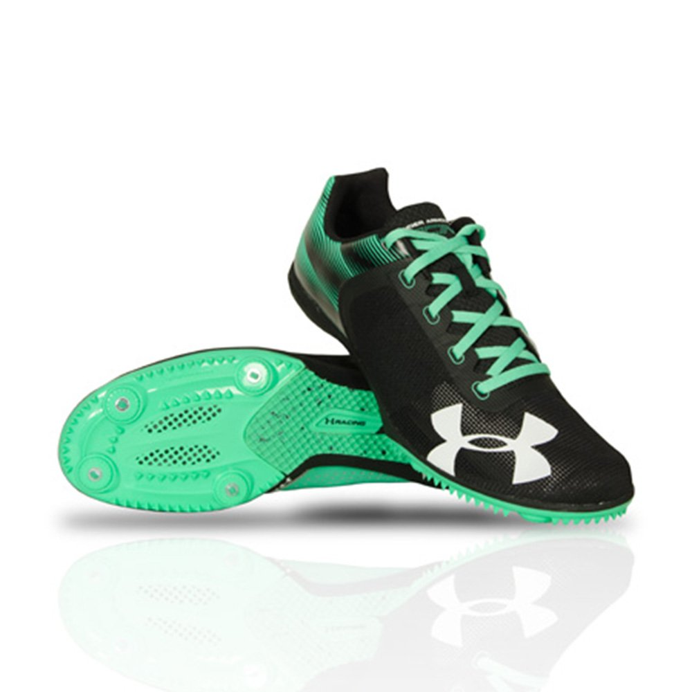 Under Armour Men's Kick Distance Spike, Black/Green, 10 D by Under Armour