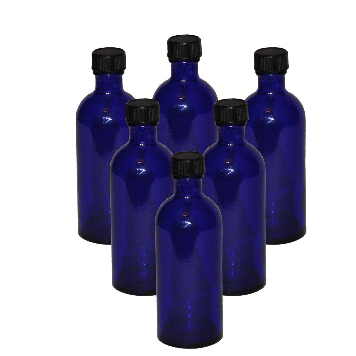 6 x flacons vides en verre bleu avec bouchon - Contenance 100 mL - FLF100