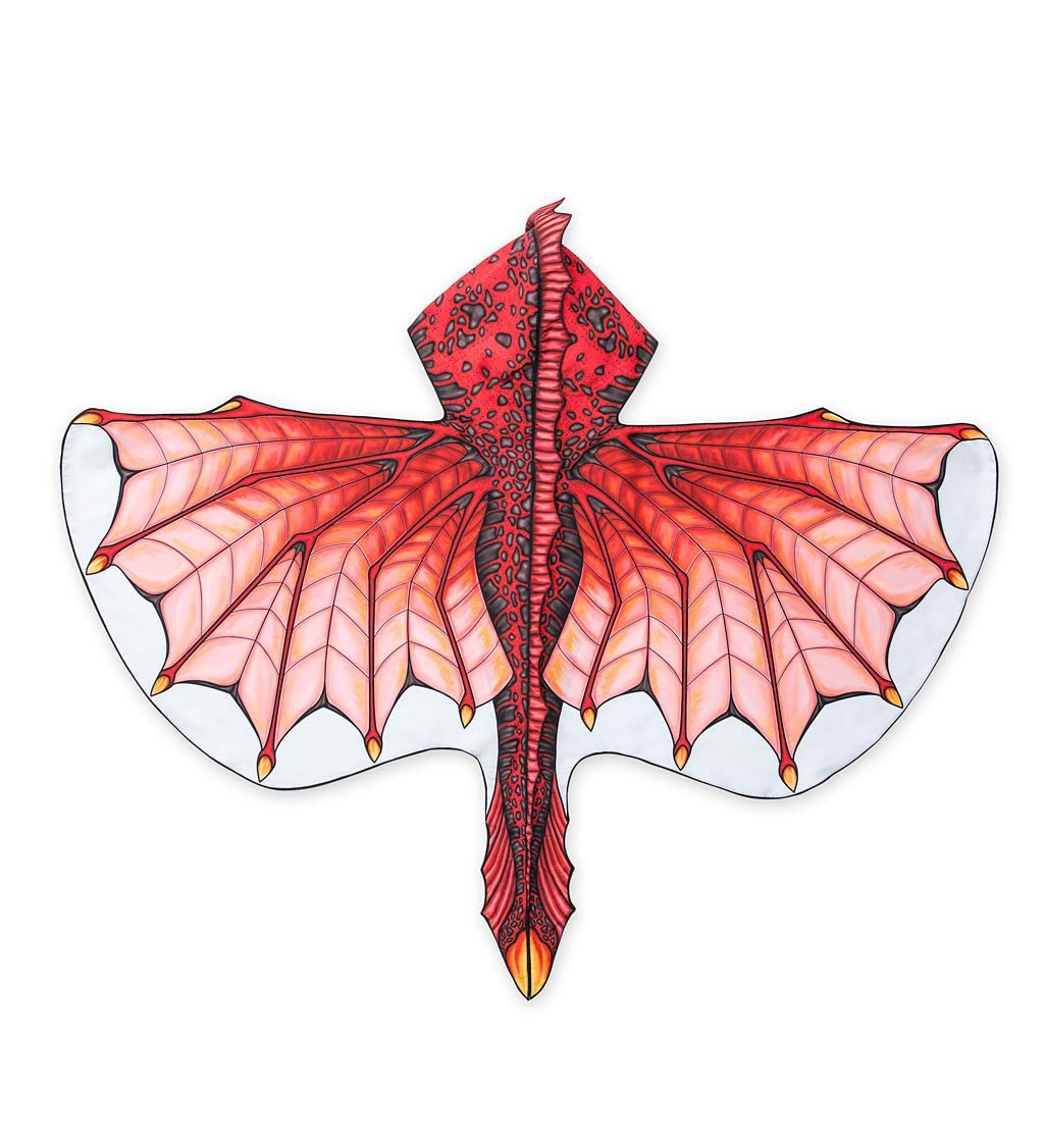 HearthSong® Hooded Dragon Wings with Finger Loops - Double Sided Printed Fabric with 3D Details - Dress Up Costume Accessories for Kids - Approx. 47'' W - Inferno Red by HearthSong® (Image #1)