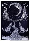 Crying Wolf of The Moon Tapestry Wall Hanging Bohemian Tapestry Home Decor ...