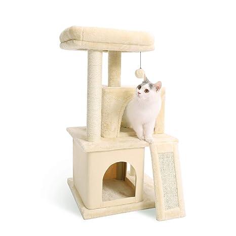 Eono Essentials Árboles para Gatos rasguña los Postes de sisal Natural con Bola de Juguetes para Dormir de Nido Beige