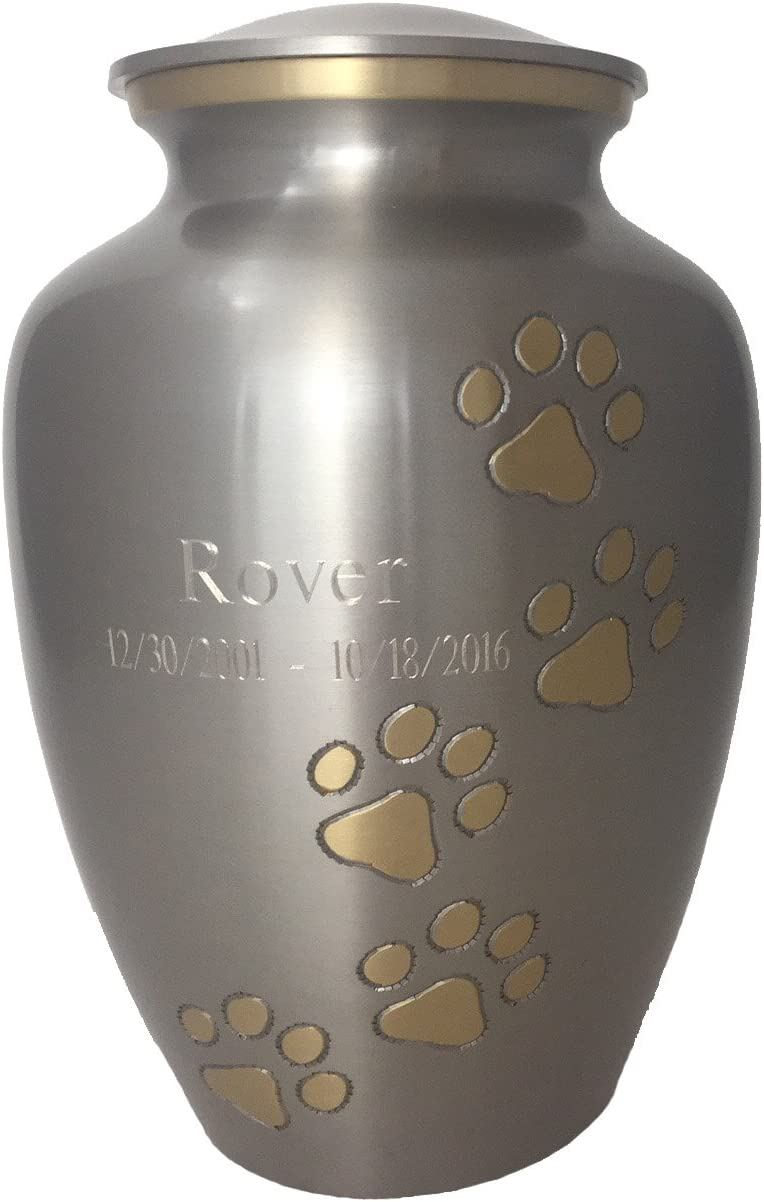 Beautiful Life Urns Pawsitive Reflection Custom Pet Urn Engravable Pet Cremation Urn, Pewter/Gold (Small)