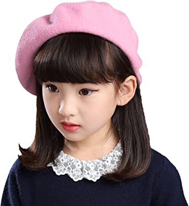 Baby Gril Plain Beanie Wool French Beret Hat Winter Autumn Warm Fashion Hat C