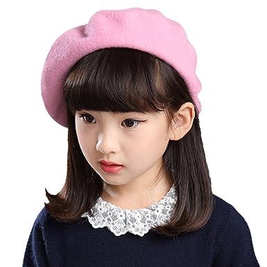 Kids Children Girls Wool Winter Warm Beret Hat Beanie-Cap Plain French Style Hat