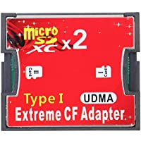 Tooarts Dual TF to CF Adapter Card Dual Micro SD to CF Converter Support SDXC 2TB High Speed Card Cover