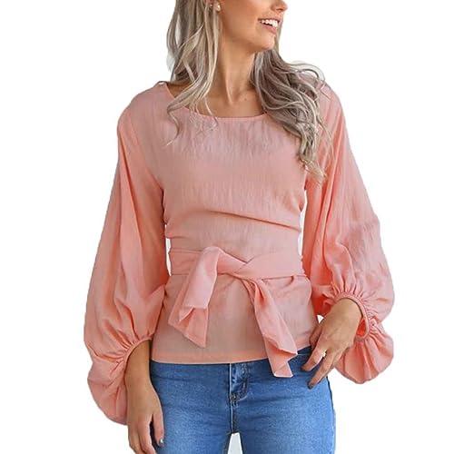 Mujeres cuello redondo vendaje cintura Slim Fit blusa linterna blusa de manga larga informal