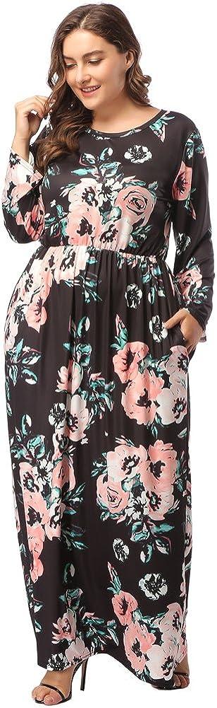 TALLA (EU54-56)3XL. Lover-Beauty Vestido Largo Mujer Talla Grande Moda Bolsillo Top Falda para Fiesta Verano Manga Corta Floral Estampada Suleto Moda de Ropa Elegante Maxi Negro 2 (EU54-56)3XL